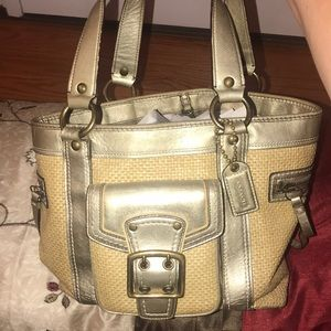 Used Coach gold/straw handbag